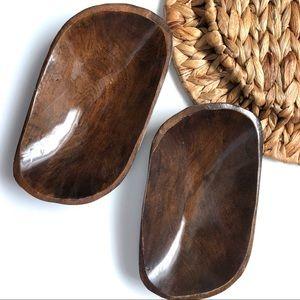 2 Small Wooden Dough Bowls